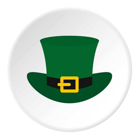 clovers: Green top hat with buckle icon in flat circle isolated vector illustration for web Illustration