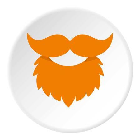 Red Beard And Mustache Icon In Flat Circle Isolated Vector