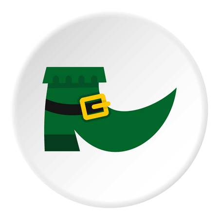 clovers: Green leprechaun boot icon in flat circle isolated vector illustration for web