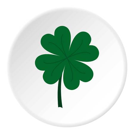 Four leaf clover icon in flat circle isolated vector illustration for web