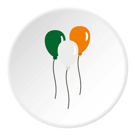 Balloons in Irish flag colors icon in flat circle isolated vector illustration for web