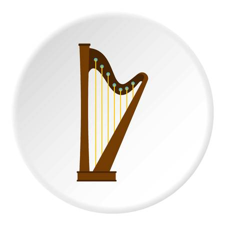 Wooden harp icon in flat circle isolated vector illustration for web