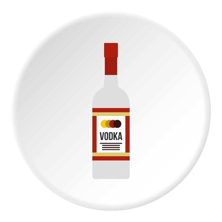 Vodka icon in flat circle isolated vector illustration for web