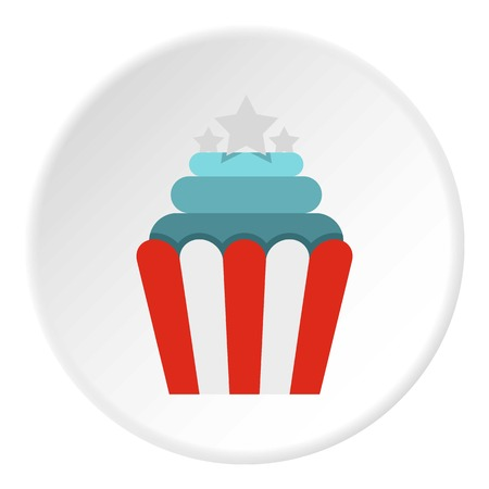 dessert buffet: Popcorn icon in flat circle isolated vector illustration for web
