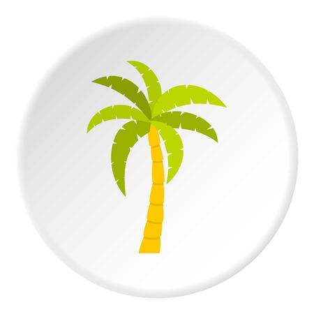lagoon: Green palm tree icon in flat circle isolated vector illustration for web