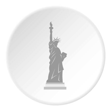 Statue of Liberty icon in flat circle isolated vector illustration for web Çizim
