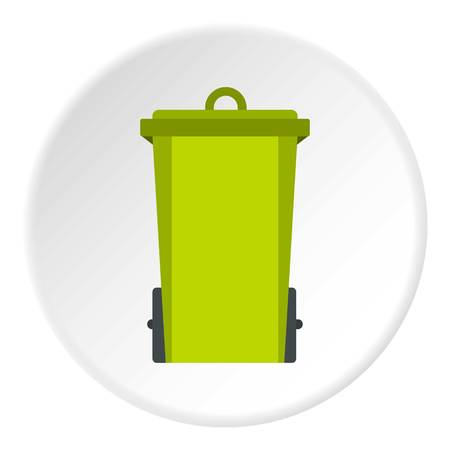 Green trash bin icon in flat circle isolated vector illustration for web