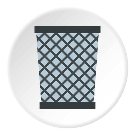 metal mesh: Wire metal bin icon in flat circle isolated vector illustration for web