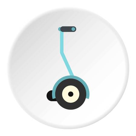 Segway icon in flat circle isolated vector illustration for web