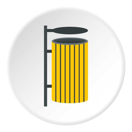 Yellow litter waste bin icon in flat circle isolated vector illustration for web Illustration