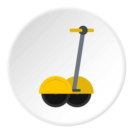 Yellow two wheeled battery powered electric vehicle icon in flat circle isolated vector illustration for web Illustration