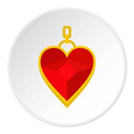 Red heart shape gemstone pendant icon in flat circle isolated vector illustration for web