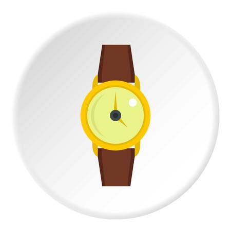 cronógrafo: Gold wristwatch icon in flat circle isolated vector illustration for web