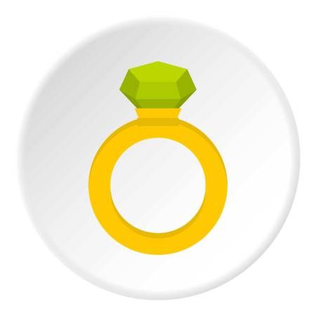 caras emociones: Gold ring with green gem icon in flat circle isolated vector illustration for web