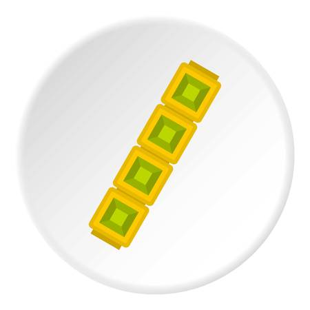 jeweller: Jewelry golden chain icon in flat circle isolated vector illustration for web