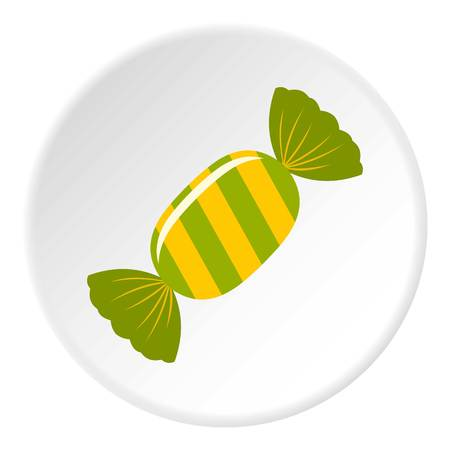confection: Sweet candy in green wrap icon in flat circle isolated vector illustration for web