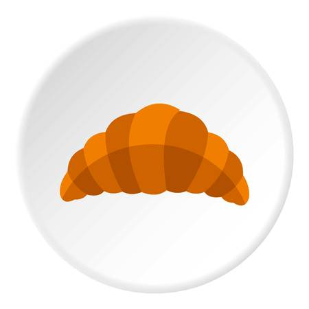 Fresh and tasty croissant icon in flat circle isolated vector illustration for web