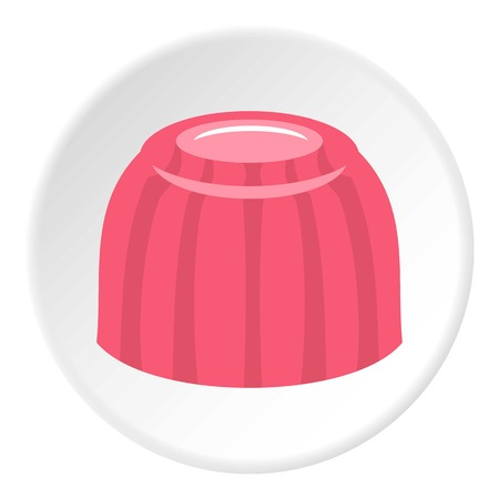 Pink fruit jelly icon in flat circle isolated vector illustration for web
