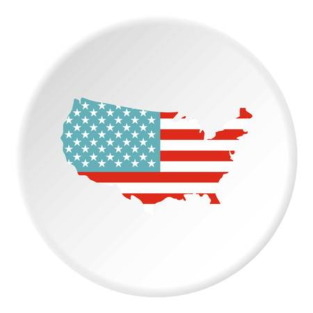 American map icon in flat circle isolated vector illustration for web Illustration