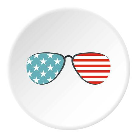 American glasses icon in flat circle isolated vector illustration for web Illustration