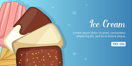 colorfull: Ice cream cold banner horizontal, cartoon style