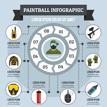 co2: Paintball infographic banner concept. Flat illustration of paintball infographic vector poster concept for web