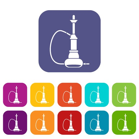 Hookah icons set vector illustration in flat style In colors red, blue, green and other