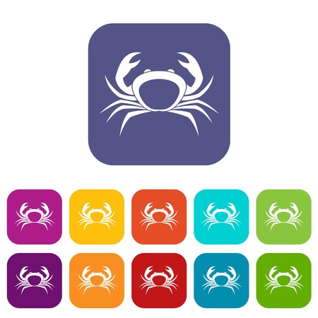 Crab icons set vector illustration in flat style In colors red, blue, green and other Illustration
