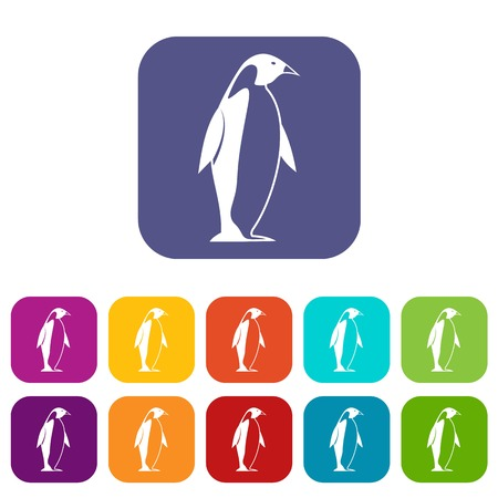 King penguin icons set vector illustration in flat style In colors red, blue, green and other Иллюстрация