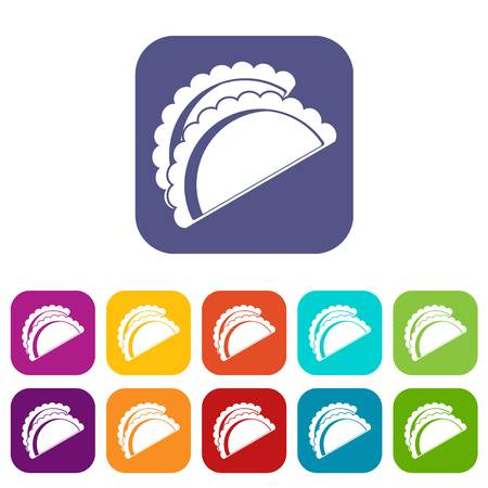 Empanadas de pollo icons set vector illustration in flat style In colors red, blue, green and other Illustration