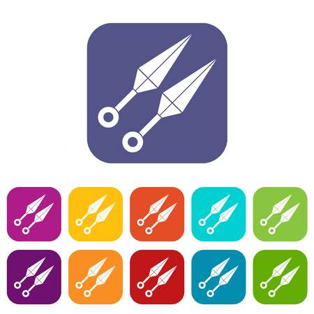 ninja tool: Ninja weapon kunai, throwing knives icons set vector illustration in flat style In colors red, blue, green and other