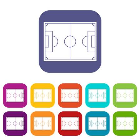 soccer goal: Soccer field icons set vector illustration in flat style In colors red, blue, green and other