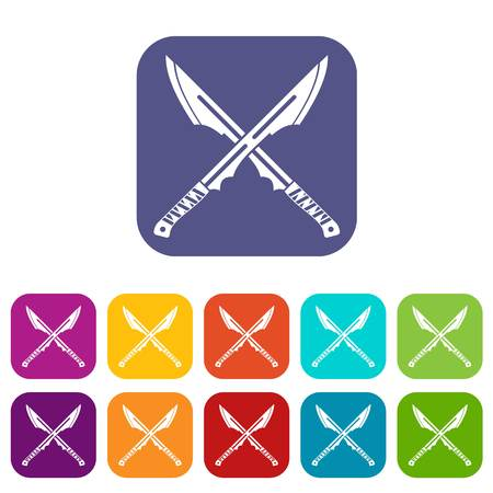 Japanese tanto daggers icons set vector illustration in flat style In colors red, blue, green and other