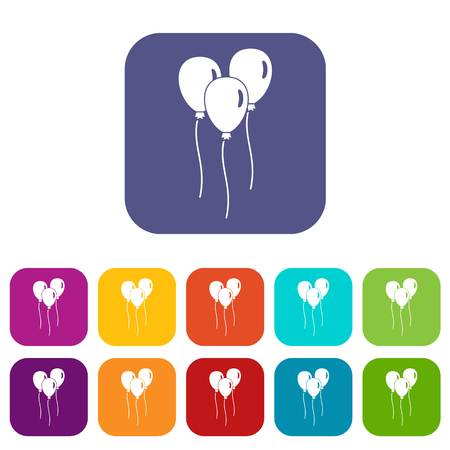 Balloons icons set vector illustration in flat style In colors red, blue, green and other