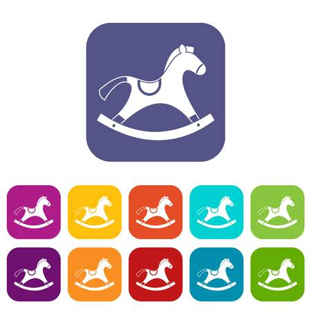 wooden horse: Rocking horse icons set vector illustration in flat style In colors red, blue, green and other