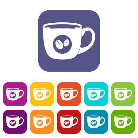 handful: Cup of coffee icons set flat