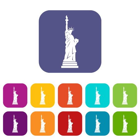 Statue of liberty icons set flat