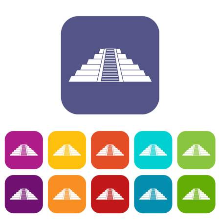 Ziggurat in Chichen Itza icons set flat