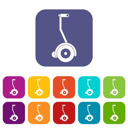 Electrical self balancing scooter icons set flat