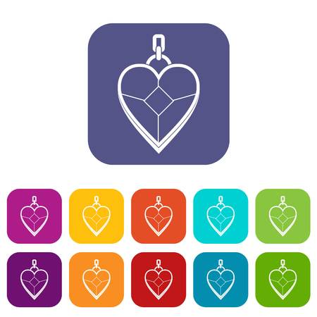Heart shaped pendant icons set vector illustration in flat style In colors red, blue, green and other