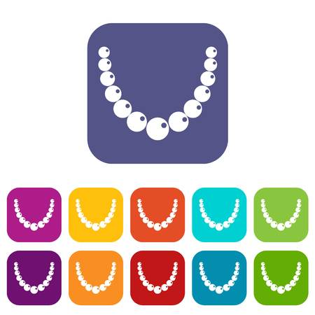 Bead icons set vector illustration in flat style In colors red, blue, green and other