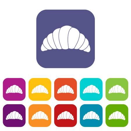 Croissant icons set flat