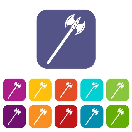 Poleaxe icons set vector illustration in flat style In colors red, blue, green and other