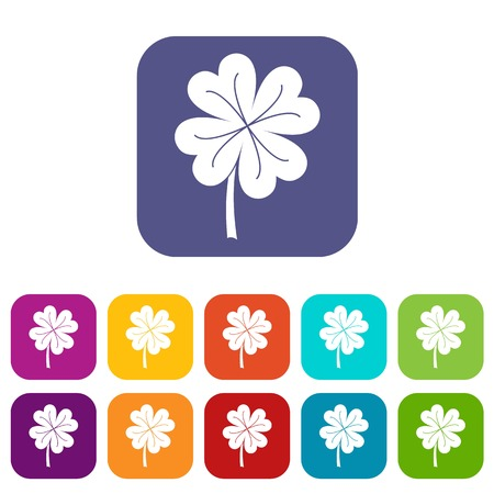 Clover leaf icons set vector illustration in flat style In colors red, blue, green and other