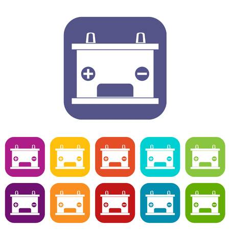 12v: Electricity accumulator battery icons set vector illustration in flat style In colors red, blue, green and other