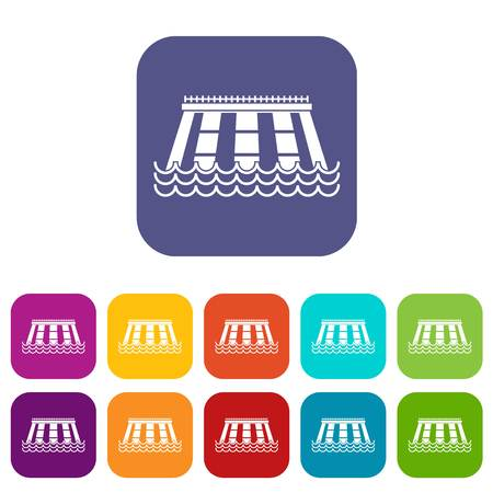 Hydroelectric power station icons set vector illustration in flat style In colors red, blue, green and other