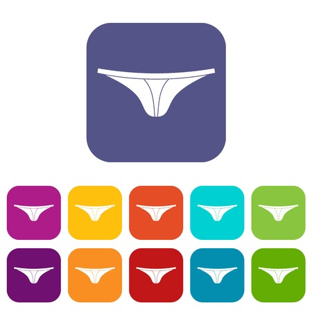 Thongs icons set vector illustration in flat style In colors red, blue, green and other Illustration
