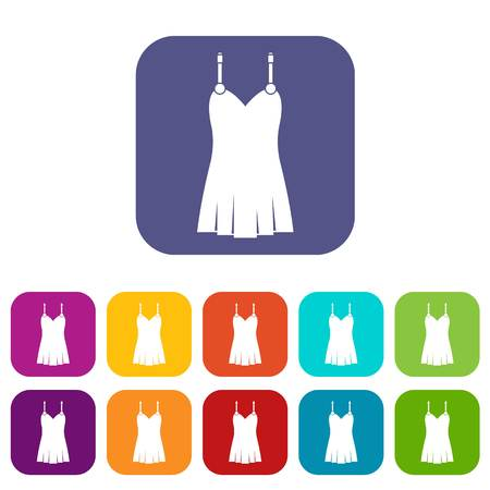 Nightdress icons set vector illustration in flat style In colors red, blue, green and other