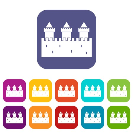 citadel: Medieval wall and towers icons set vector illustration in flat style In colors red, blue, green and other Illustration
