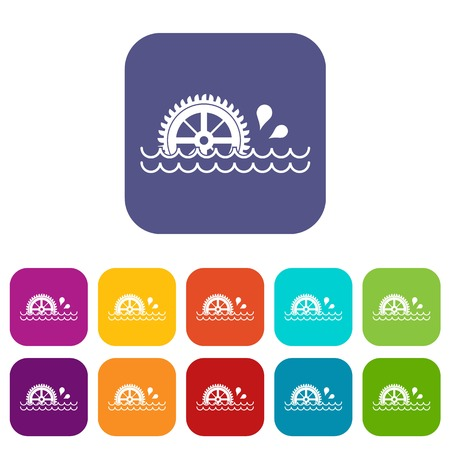 watermill: Waterwheel icons set vector illustration in flat style In colors red, blue, green and other Illustration